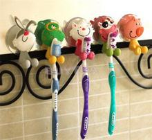 1 Pcs cute Cartoon Animals Cat rabbit pig sucker toothbrush holder suction hooks bathroom set accessories(China)