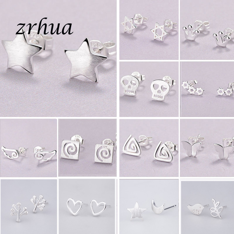 925-Silver Needle Stud-Earrings Birthday-Accessories Jewelry Fashion Chic Girls Kids title=