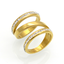 HOT 2017 New Gold Silver Engagement Rings For Women Stainless Steel Wedding Jewelry Crystal Ring Stainless Steel Jewelry Gift