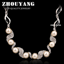 ZHOUYANG Top Quality Imitation Pearl Wedding Necklace Silver Color Fashion Jewellery Pendant Crystal ZYN256 ZYN255