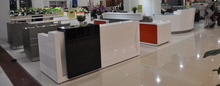 2.4 m Stainless steel mixed E1 standard environmental MDF RECEPTION COUNTER with marble table top #QT2490/#QT3450