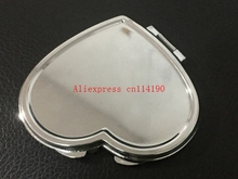 Hot sale SILVER COMPACT MIRRORS BRIDESMAIDS WIFE GIRLFRIEND HEART SHAPED MAKEUP CASES(China)