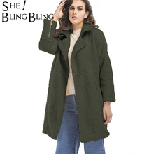 SheBlingBling 4 Colors Fashion Flocking Winter Warm Women Overcoat Turn Down Collar Women Thicken Ladies Tench Female Long Tops(China)