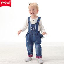 IYEAL Baby Girl Clothing Spring 2017 Bebe Jeans Overalls Lace Rompers Infantil Jumpsuit For Toddler Infant Denim Coveralls(China)
