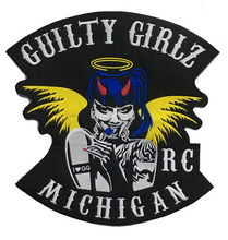 HOT SALE COOLEST GUILTY GIRLSBIKER RC MICHIGAN MOTORCYCLE CLUB VEST OUTLAW BIKER MC JACKET PUNK IRON ON WEST PATCH FREE SHIPPING(China)
