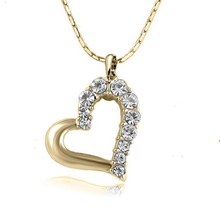 Wholesale Fashion Jewelry Simulated Pendant Necklaces Crystal Love Heart Shape Women Wedding Bridal Accesories(China)