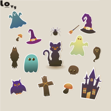 Creative Happy Halloween Wall Stickers Funny Witch Pumpkin Bat Cat Ghost Art Home Wall Shop Window Decoration Sticker CW00013