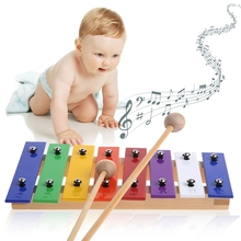 8 Notes Wooden Children Kid Xylop hone Glockenspiel Musical Instrument Music Toy(China)