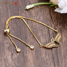 VEKNO Minimal Heart Adjustable Chain Bracelet for Women Gold Color Cubic Zirconia Angle Wings Bracelets & Bangles Lucky Jewelry(China)