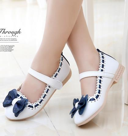 Girls white dress shoes models bowknot princess shoes light leather Korean students 3 color baby leather