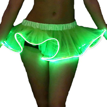 Tutu Led Mini Skirts Solid Tulle Ball Gown Lady Short Skirt LED Performance Dancing Luminous Sexy Dress Women Erotic Costume