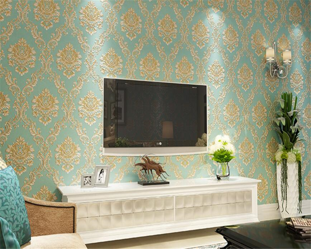 beibehang 3D fashion big flower striped three-dimensional relief non-woven wallpaper TV bedroom background wall papel de parede<br>