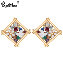 RAVIMOUR Punk Square Women Earrings Cute Fashon Flower Gold Color Big Crystal Stud Earing Vintage Accessories Birthday Gift New
