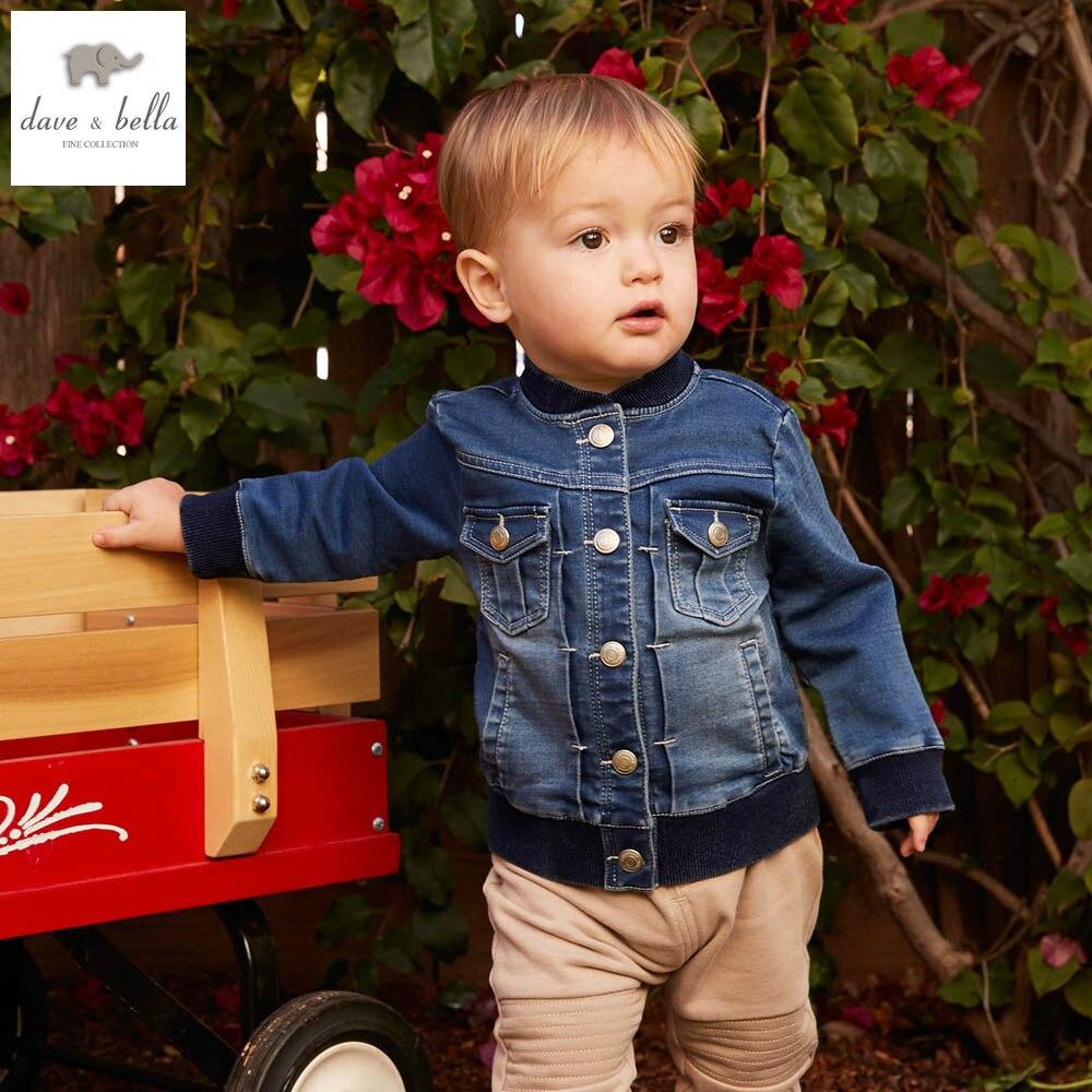 DB4708 dave bella spring fall baby boys denim jacket  kids clothes toddler coat children denim coat for boy cool coat<br>