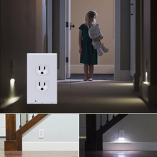 Practical Plug Cover LED Night Angel Wall Outlet Face Bathroom Safty Light Sensor Drop Shipping(China)