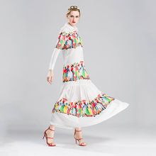S-4XL 2017 new nice character print designer ruffles hem long sleeve bohemia beach full elegant maxi long women's dress vestido