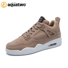 AQUA TWO Outdoor Men Running Sports Shoes Pig Leather Sneakers 2017 Walking Scrub Non-slip Lace-up Athletic Shoes For Men A650(China)