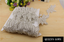 Luxury  Bridal bow Clear  Rhinestone decorationTrim Garment Bags  rhinestone brooch strass swarovski Crystal for Wedding Dresses