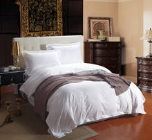 60S 100% Long staple Cotton Luxury Hotel bedding sets with feather weaved White hotel bed linen king size sheets set