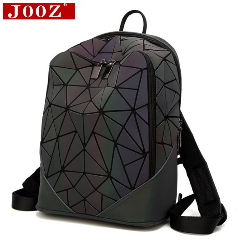 JOOZ Fashion Women backpack PVC geometric luminous backpack 2017 new Travel Bags for School Back Pack holographic backpacks <br>