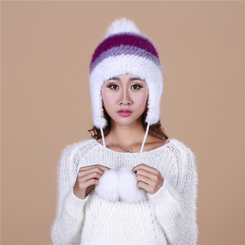 Womens Winter beanies With pompon Knitted Ball Women Customized Headgear fur Hat For Women Casual Female Mink Fur Hats#H9026Одежда и ак�е��уары<br><br><br>Aliexpress