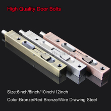 "High Quliaty 6""/8""/10""/12"" SUS304 Stainless Steel Door Bolt Security Door Guard Lever Action Flush Latch Slide Bolt Lock K112"