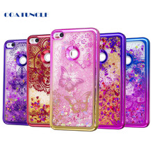 Soft TPU Phone Case For Huawei P8 Lite 2017 / Honor 8 Lite Plating shell Case Dynamic Bling Liquid Glitter Quicksand Back Cover