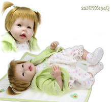 "Golden Hair Realistic Baby Doll Solid Silicone Toy Babydoll Girls Present 22""(China)"