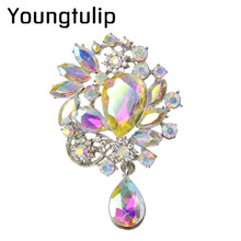 Youngtulip AB Color Acrylic Crystal Brooches For Women Fashion Water Drop Style Flower Brooch Pin Elegant Party Jewelry Bijoux