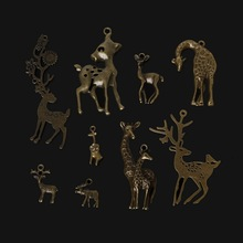 New Design Bronze Plated Zinc Alloy Giraffe Reindeer Deer Charms Necklace Pendant DIY Jewelry Accessories 9 Style Selection