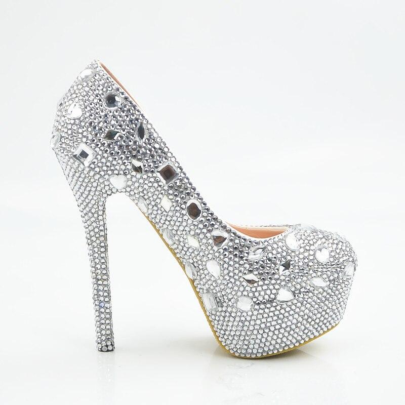 Silver high heels with rhinestones