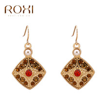 ROXI Stud Geometric Earrings Rose Gold Imitation Pearl Red Crystal Earrings for Women Pendientes Mujer Moda 2017 femme