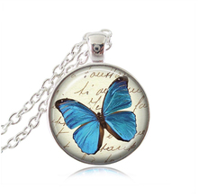 Blue butterfly necklace women necklaces channel animal necklaces pendants vintage butterfly jewelry gift necklace accessories