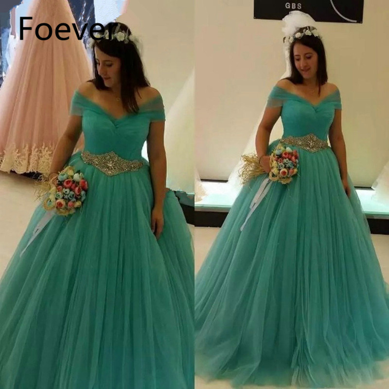 Sexy Off Shoulder Mint Tulle Prom Dresses Draped Waist Shinning Beadings Debutante Dresses Turquoise Quinceanera Gowns