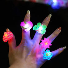 Glowing cartoon finger rings LED flashing light toy for kids birthday party favors,animal fruit design ring 1200pcs/lot(China)