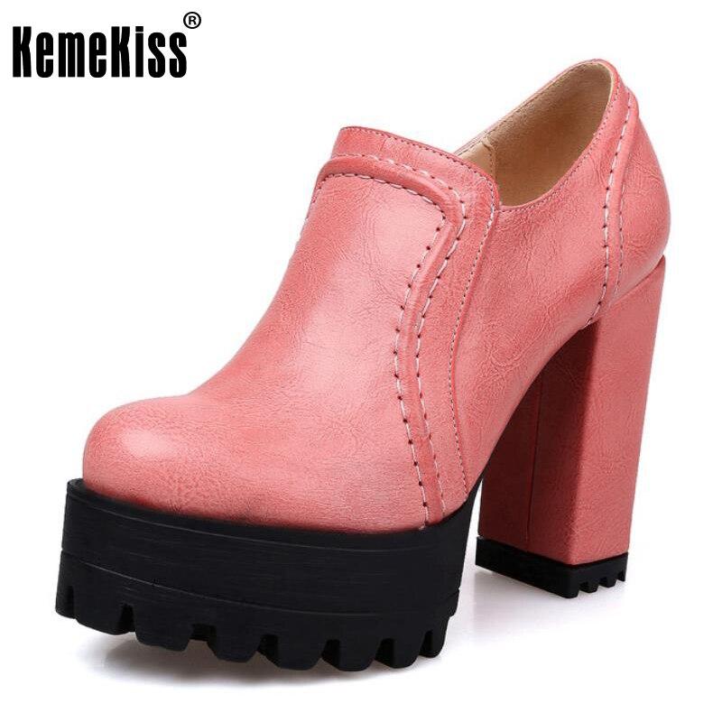 KemeKiss Office Lady High Heel Shoes Women Platform Zipper Candy Color Pumps Women Fashion Sweet Dating Footwears Size 34-39<br>