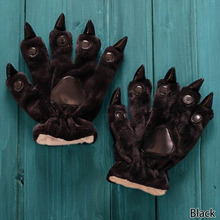 Animal Claw Gloves Women Men Soft Plush Paw Glove Bear Gloves for Dinosaur Luna Cat Halloween Costumes(China)