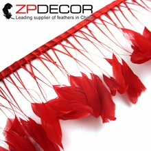 ZPDECOR 8-10inch(20-25cm) 10yards/lot Beautiful Hot Sexy Dyed Red Stripped Coque Tail Feathers Trim for Carnival Decor(China)