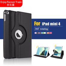 360 Rotation PU Leather case for Apple ipad mini 4 Fashion Smart Stand Leather Cover for ipad Mini4 case + film + pen