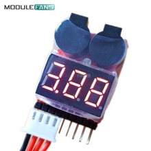 New 1-8S Lipo Li-ion Fe Battery Voltage 2IN1 Indicator Tester Low Voltage Buzzer Alarm For RC Car Boat LED 3.7-30V Dual Speaker(China)
