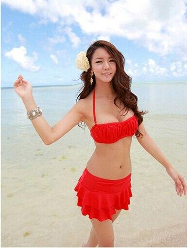 Women Hot Korea Cute Skirt Style Bikinis Set Female Push Up Swimsuit Red Bikini Swimwear Bathing Suit Chic Bandeau Biquini E259 <br><br>Aliexpress
