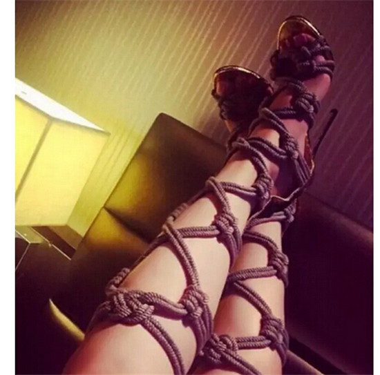 Sexy Braided Rope Leather Patch Gladiator Sandals Women Boots Caged Cut Outs Knee High Boots High Heels Shoes Woman Botas Mujer