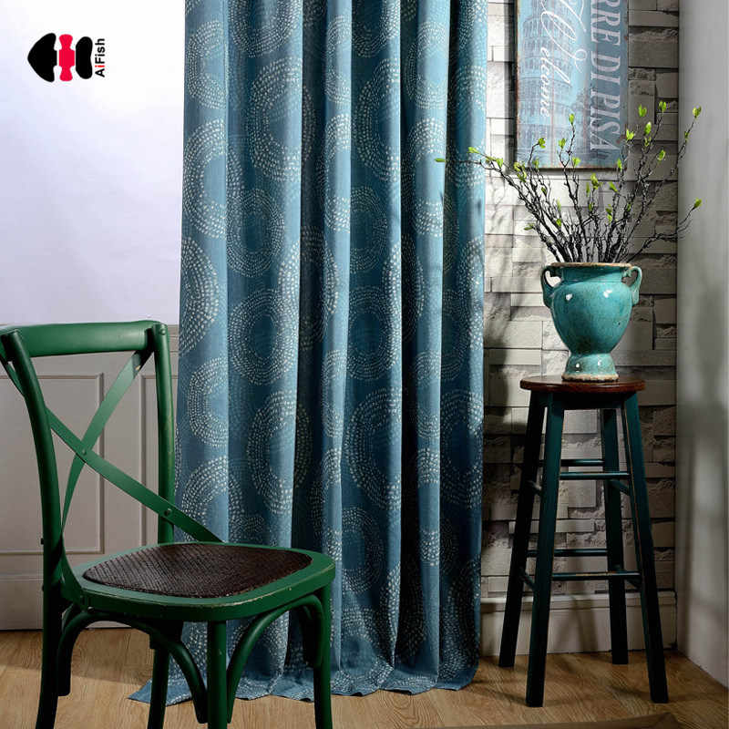 Blue Circle Curtains Blackout Thick Fabric Bedroom Living Room Classical Chinese Window Treatment Blinds WP136C