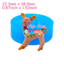 DYL023 38.9mm Kawaii Deer Flexible Silicone Mold - Forest Animal Mold Cake Decoration Craft Fondant Resin, Pendant, Jewelry Mold