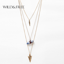 2016 Women Multilayer Collar Necklaces Natural Stone Arrow Pendant Gold Silver Plated Metal Chain Necklace for Women Jewelry
