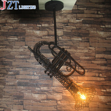 M Best Price 2kg Loft Retro Industrial Style Iron Sax Restaurant Cafe Bar Antique Pendant Light Creative Personality Iron Lamp(China)