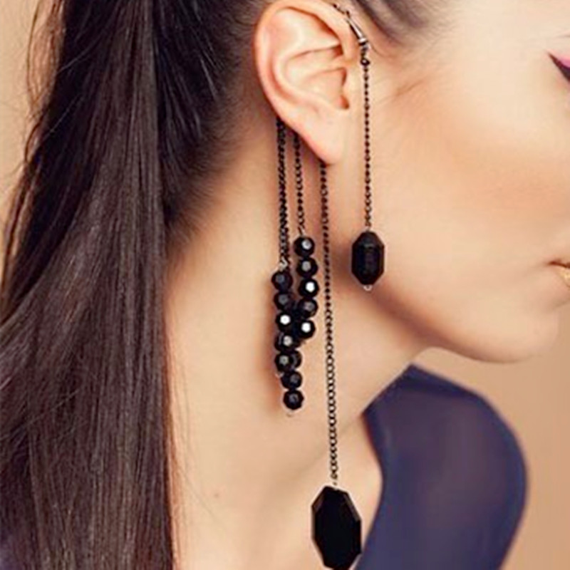 Fashion Vintage Rock Punk Exquisite Black Beads Long Tassels Hanging Ear Clip On Clip Earrings Women Jewelry Clamp Cuff Earring(China (Mainland))