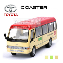 High Simulation Exquisite Car Model Toys: ShengHui Car Styling Hongkong Line Bus Toyota Coaster 1:32 Alloy Bus Model Best Gifts