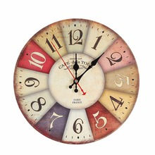 30cm Circle Mute Vintage Wall Clock Number Needle Wooden Wall Clock for Kids Bedroom Living Room Classical Decorations
