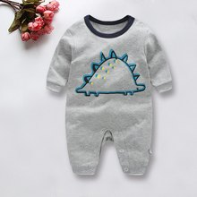 Combed Cotton Cute Gray Dinosaur Pattern Clothing Kids Jumper Crawling Clothing